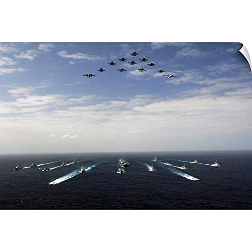 CANVAS ON DEMAND Stocktrek Images Wall Peel Wall Art Print Entitled Aircraft Fly Over a Group of US and Japanese Maritime Self-Defense Force Ships 18