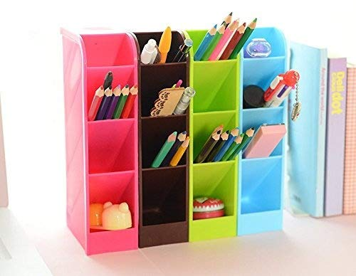 (Lani Ang Multifunction Four Grid Candy-colored Desktop Debris Storage Organizer Box for Office,stationery Pen, Socks, Make up Tools(set of)