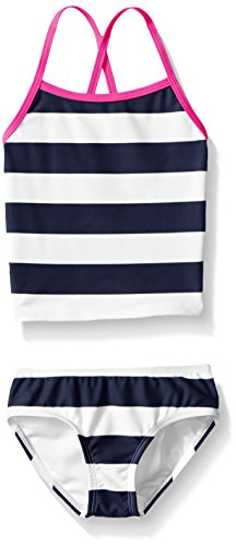 (Kanu Surf Toddler Girls' Alexa Beach Sport 2-Piece Banded Tankini Swimsuit, Layla Navy Stripe, 3T)