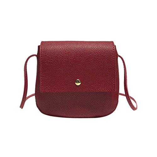 (Women Mini Bags Litchi Pattern PU Hasp Crossbody Bag Shoulder Bag, LLguz Fashion Elegant Girl Bags Travel Bag (Red) )