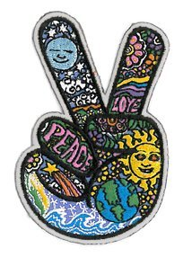 Dan Morris - Celestial Peace Hand Fingers - Embroidered Patch,Blue, Yellow and Green,2.5