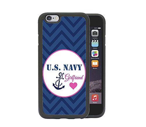 U.S. Navy Girlfriend Pink Heart Blue Anchor Vector Royal Blue Chevron Wave Pattern Apple iPhone 6/6S, 4.7 Rubber TPU Silicone Phone Case - FITS IPHONE 6 & IPHONE (Girlfriend Anchor)