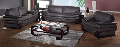 Blackjack Furniture 728-BROWN Sofa Set Leather Match Sofa, Loveseat, Chair, Brown, 3 (Sag Sofa Set)