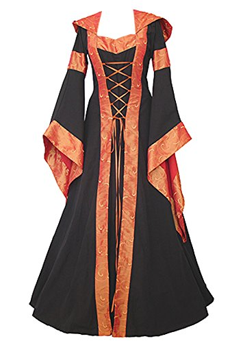 Women Halloween Dresses Costume Vintage Renaissance Gothic Victorian Hooded Dress by JOYCHEER (Hooded Renaissance Dress)