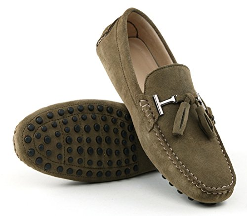TDA Mens New Tassel Suede Driving Loafers Penny Boat Shoes Khaki IPe5HuDnnj