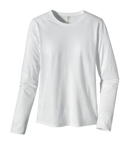 econscious Women's Classic Washed Long Sleeve Tee (White, - Cotton 100% Tee Organic