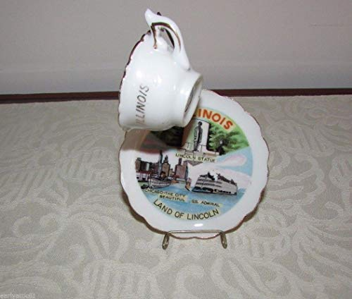 Vintage Illinois Land of Lincoln Small Teacup Saucer Stand Victoria Ceramics by Tuweep