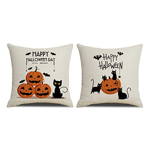 RUOAR Pack of 2 Halloween Pillow Covers Black Cat Pumpkin Throw Pillow Covers Cushion Covers for Cat Lovers 18 x 18 inch]()