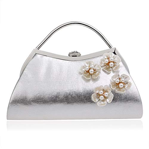 evening Color Fashion Evening Dress Evening Bag Clutch Ladies New Fly Flower Bag Silver Banquet bag Silver SOpPaq