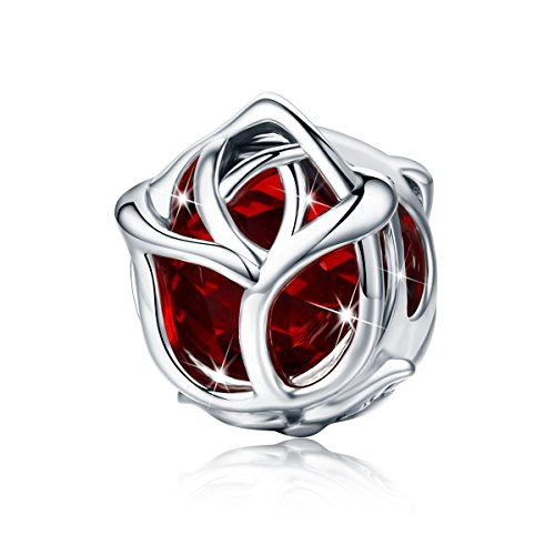 BAMOER 925 Sterling Silver Love of Red Rose Charms Bead for DIY Bangle Bracelets Girl Gifts