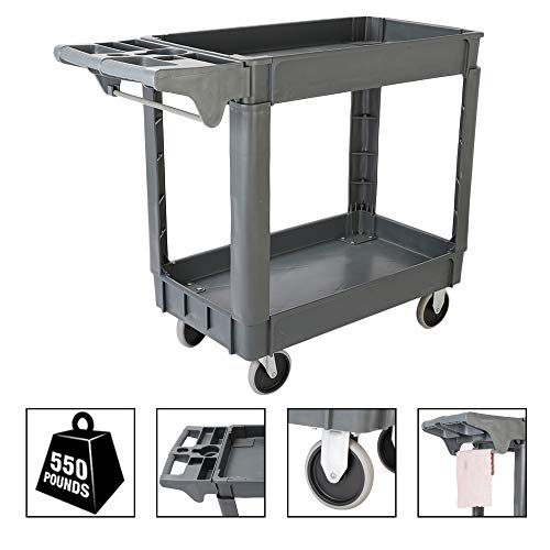 TUFFIOM Plastic Service Utility Cart, Support up to 550lbs Capacity, Heavy Duty Tub Storage Cart W/Deep Shelves, Multipurpose Rolling 2-Tier Mobile Storage Organizer, for Warehouse Garage ()