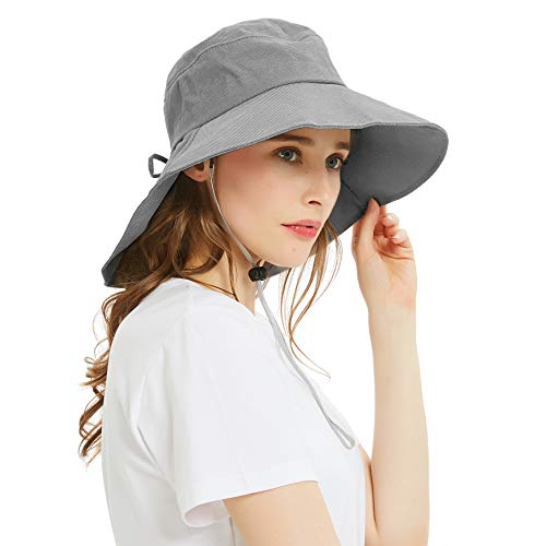 (Headshion Sun Hats for Women, Wide Brim UV Protection Sun Hat Foldable Boonie Cap with Neck Flap for Beach, Fishing, Safari, Hiking)