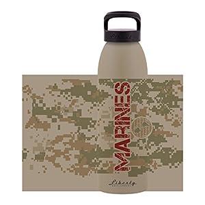 Liberty Bottleworks Marines Aluminum Water Bottle, Made in USA, 24oz, Desert, Sport Cap