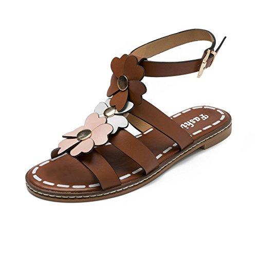 ZPPZZP La sig.ra sandali fondo piatto Corea marrone stile 35EU