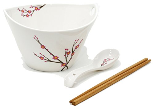 Ramen Soup Bowl Set of 1 - Chopsticks, Hooked Spoon, White with Japanese Apricot (Ume) Flowers, by Umami Tableware