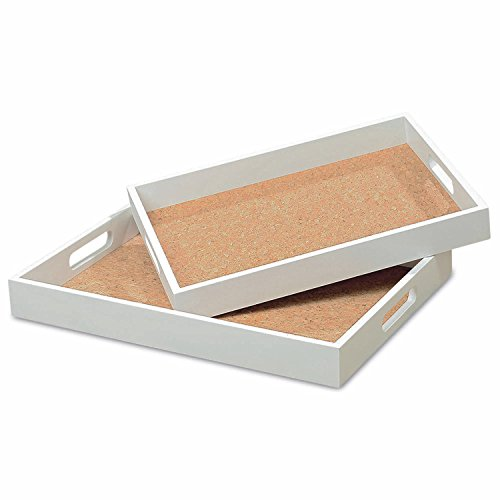 The Boho Chic White Wood Cork Lined Trays Set of 2, MDF Wood and Cork, 15 ¾ D x 11 ¾ W x 1 ¾ H and 14 1/8 x 10 ¼ x 1 5/8 Inches, By Whole House Worlds