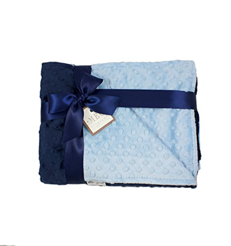MEG Original Baby Blue & Navy Blue Minky Dot Baby Boy/Toddler Crib Blanket ()