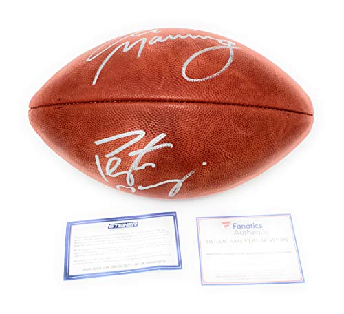 (Peyton Manning Eli Manning Colts Broncos New York Giants DUAL Signed Autograph Authentic NFL Duke Football Steiner Sports & Fanatics Authentic Certified)