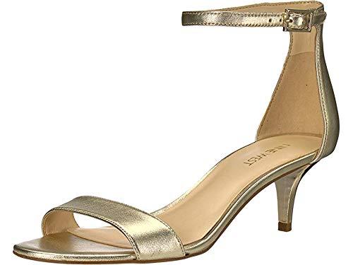 Nine West Women's Leisa Heeled Sandal, Light Gold/Metallic, 6.5 M US (Nine West Gold Shoes)