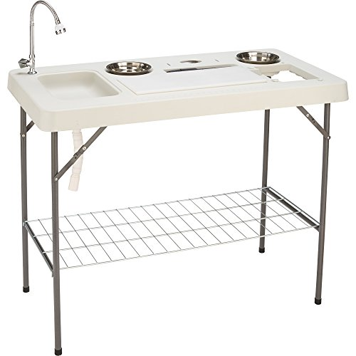Deluxe flex fish cleaning camp table with flexible faucet for Fish cleaning gloves