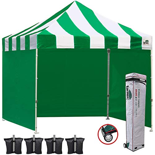 Eurmax 10x10 Ez Pop Up Canopy Outdoor Canopy Instant Tent with Full Zipper Sidewalls and Roller Bag,Bouns 4 Weight Bags