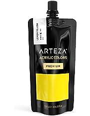 ARTEZA Acrylic Premium Artist Paint, Lemon Yellow Color, (120 ml Pouch, Tube)