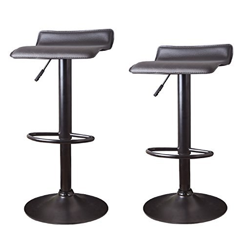 Adeco Hydraulic Lift Cushioned Adjustable Swivel Counter Barstool - Black Vinyl Seat on Black Pedestal Base - Adjustable Height 22.4-31.1 Inch - Set of 2 Cushioned Swivel Stool