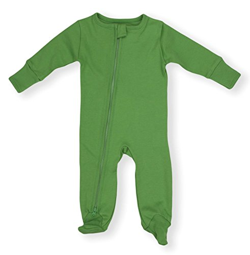 Earthy Organic Baby Sleeper 2-Way Zipper Pajamas Boy Girl (7 Sizes: NB-24M) 100% Organic Cotton (3M- Footed, Forest (Sleepwear Bottoms)