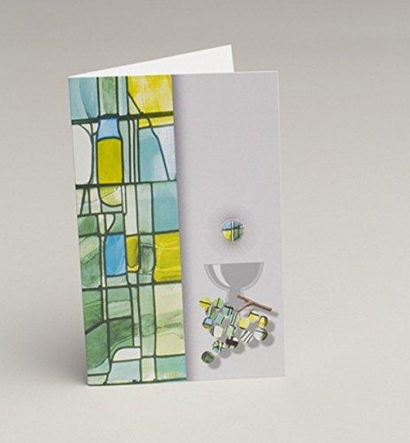 D& Y 10 Invitations enveloppes Carton Communion vitrail Vert Communion Y&D
