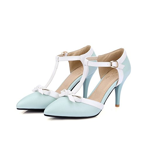 Zapatos Plano Boca Superficial Tacón Mujer QXH Blue Medio de Puntiagudo Sandalias wx7qfn4dY