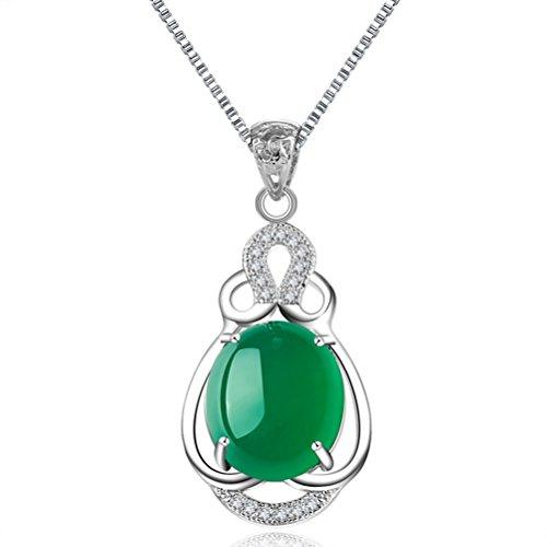 Greendeer Chandail de collier Calcédoine Pendentif femelle les amoureux de clavicule chaîne