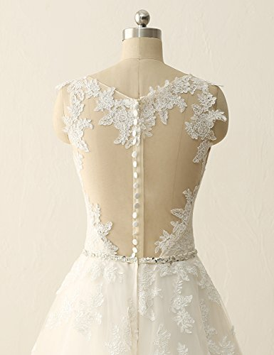 Dress Gown Wedding Sweetheart Gown JAEDEN Bridal Through Ball White Lace See P7Cn6