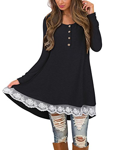 ng Sleeve Lace Casual Tunic Dress for Leggings(Black,L) ()