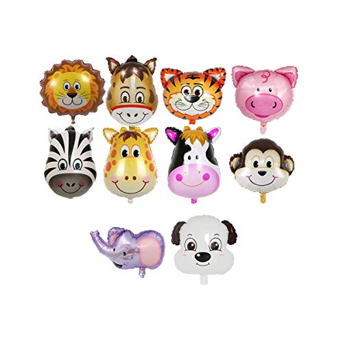 (10pcs Cute Animal Head Medium Aluminum Foil Balloons Creative Birthday Party Decoration Supplies (Zebra + Lion + Monkey + Tiger + Elephant + Deer + Cow + Dog + Pig)