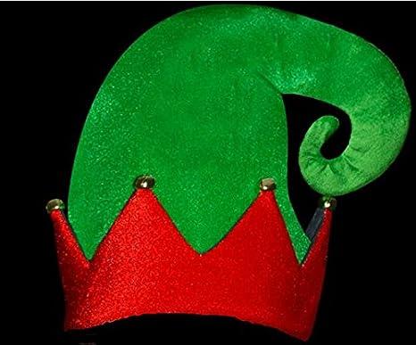 Concept4u Velluto cappello elfo natalizio con campanelle rosso e verde  Natale adulti accessori per costume da 246ad50a8d30