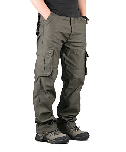 de3f216a9fb CloSoul Direct Men s Military Cargo Pants Cotton Straight-Fit Trousers 6  Pockets (Army Green