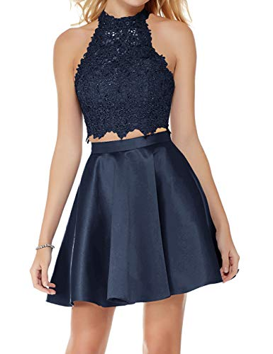 Blue Back Homecoming Cocktail Party Short Dress A Open Two Piece Navy Dresses with Dress Line Halter Lace qvfSaqn