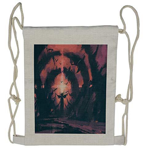 Ambesonne Fantasy Drawstring Backpack, Old Wizard Spell Cast, Sackpack Bag