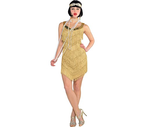 (AMSCAN Roaring '20s Champagne Flapper Dress Halloween Costume for Women, One)