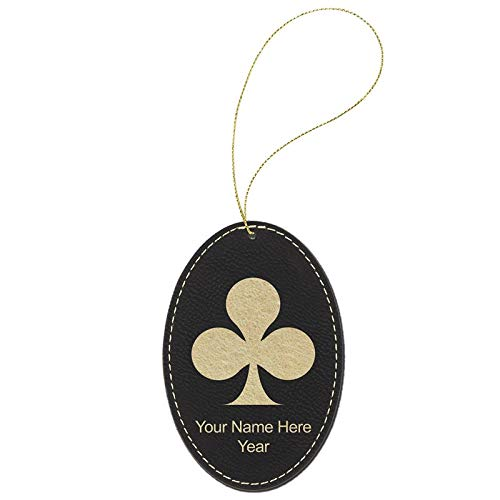 (LaserGram Faux Leather Christmas Ornament, Poker Clubs, Personalized Engraving Included (Black Oval) )