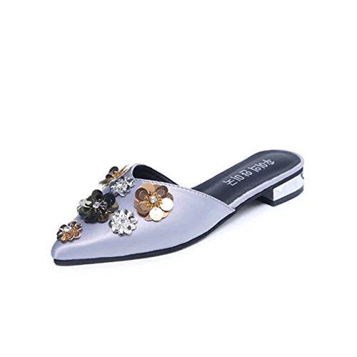 de zapatillas zapatos zapatillas de mitad y la de mujer Donyyyy primavera mujer simple bordadas verano perezoso Forty Zapatos YqfzwnRZ