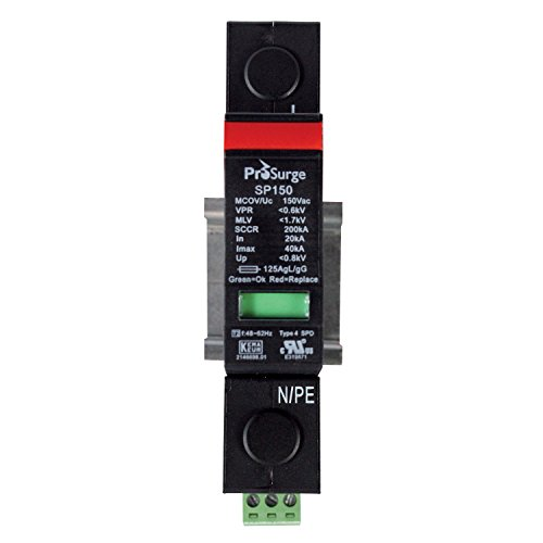 ASI ASISP150-1P UL 1449 4th Ed. DIN Rail Mounted Surge Protection Device, Screw Clamp Terminals, 1 Pole, 120 Vac, Pluggable MOV Module