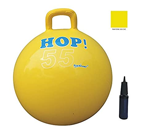 SUESPORT Hopper Ball Kit,Pump Included, 22in/55cm, Yellow, Hop Ball, Kangaroo Bouncer, Hoppity Hop, Sit and Bounce, Jumping Ball, 2-Size by 3-Colors Available