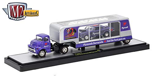 M2 Machines 1957 Dodge COE (Violet w/Black Fenders) & 1968 Plymouth Barracuda - (Violet w/Black Panels) Auto-Haulers Release 24 - 2017 Castline 1:64 Scale Die-Cast Vehicle Set (R24 17-10)