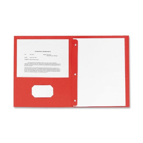 (Sparco 2-Pocket Folders, with Fasteners, 1/2-Inch Capacity, Letter, 25 per Box, Red (SPR71445))