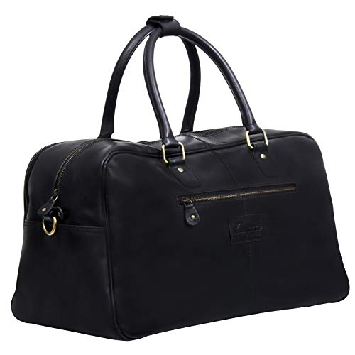 Black Leather Travel Carry On Duffle Bag Luggage for Men and Women