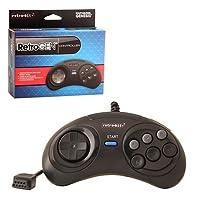 Retro-Bit 6 Button Wired Retro Pad-Black, Sega Genesis