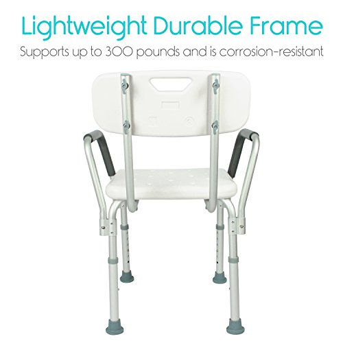 Vive shower chair with back handicap bathtub bench with padded armrest for disabled seniors for Best bathroom scale for elderly