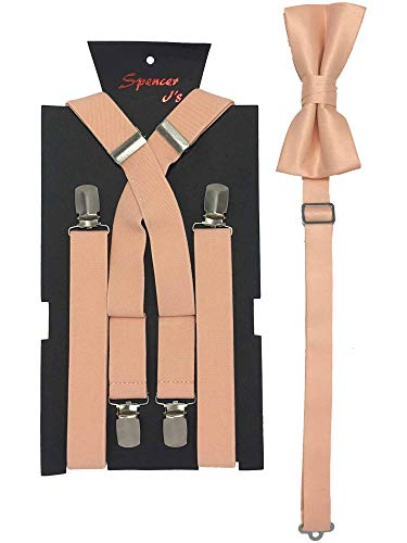 Spencer J's Men's X Back Suspenders & Bowtie Set Verity of Colors (Peach) ()