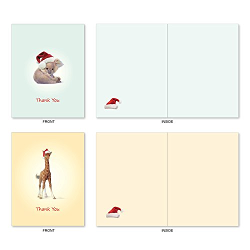 M6726XTB Christmas Zoo Babies: 10 Assorted Blank Christmas Thank You Note Cards Featuring Sweet and Adorable Baby Zoo Animals, w/White Envelopes. Photo #5